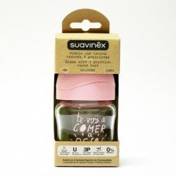 Biberon Suavinex Vidrio Tetina Silicona 3 Posiciones 120 ML