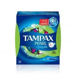 Tampones 100% algodón Tampax Compak pearl super 18 unidades